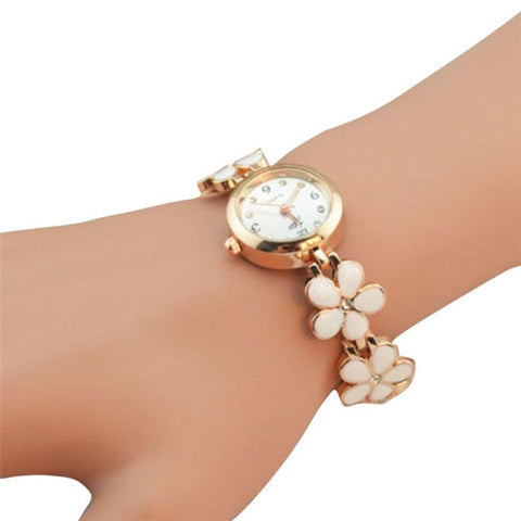 Daisies Flower Rose Gold Crystal Bracelet Wrist Watch