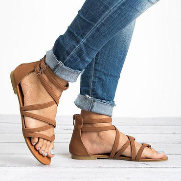 Sandals Cross Tied  Zipper  Ankle Strap  Boho Shoes Flip Flops Sandal