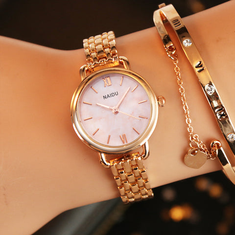 Rose gold Silver Ladies Bracelet Watch