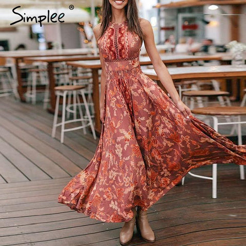 Halter women long summer dress