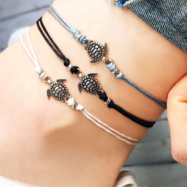 Beach Bohemian Turtle Animal Charm Chain Adjustable Wax Rope String Anklets Bracelets & Bangles