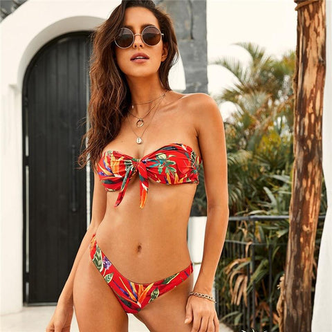 Boho Tropical Knot Wire Free Bandeau Swimwear