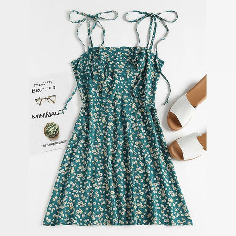 Floral Spaghetti Strap A-Line Wrap Mini Dress