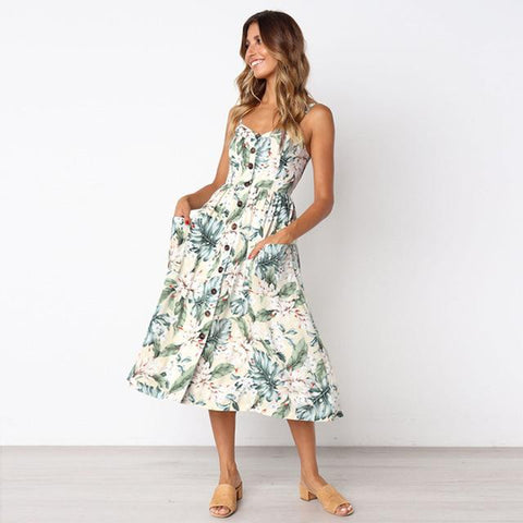 Hot Trending A-Line Print Sleeveless Midi Dress