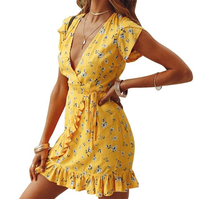 Summer Floral Printed Fashion Bohe V-Neck Sleeveless Sexy Party Dress