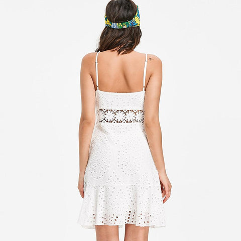 Summer Dress White Sexy Hollow Out Spaghetti Strap Dress
