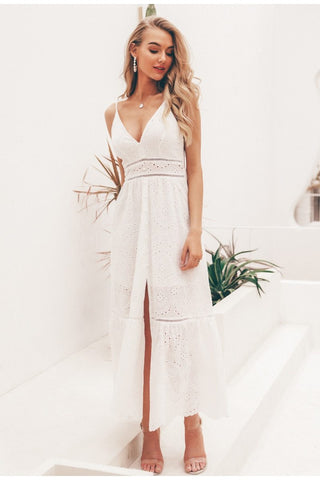 White sexy summer dress V neck spaghetti strap pearl buttons cotton dresses