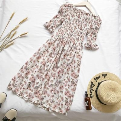 Summer Dress Off Shoulder Floral Print Chiffon Dress
