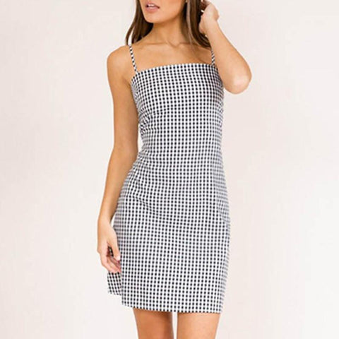 Sexy Plaid Sleeveless Dress Summer Slip Sundress Female Spaghetti Strap Party Dress