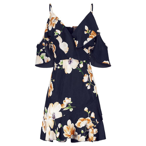 Floral Ruffles Cold Shoulder Dress Frilled Mini Short Sleeve Print A-Line Dress