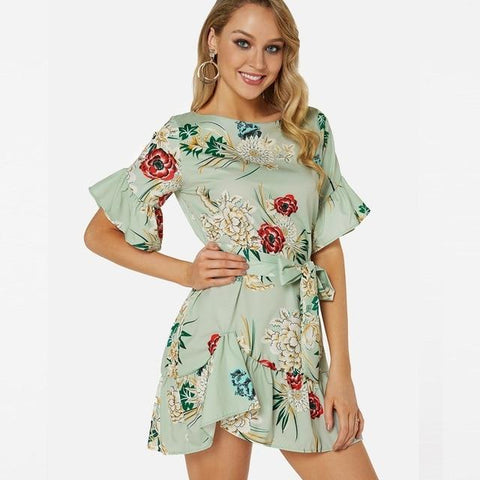 Floral Printed A-Line Half Flared Sleeves Round Neck Ruffles Mini Dress