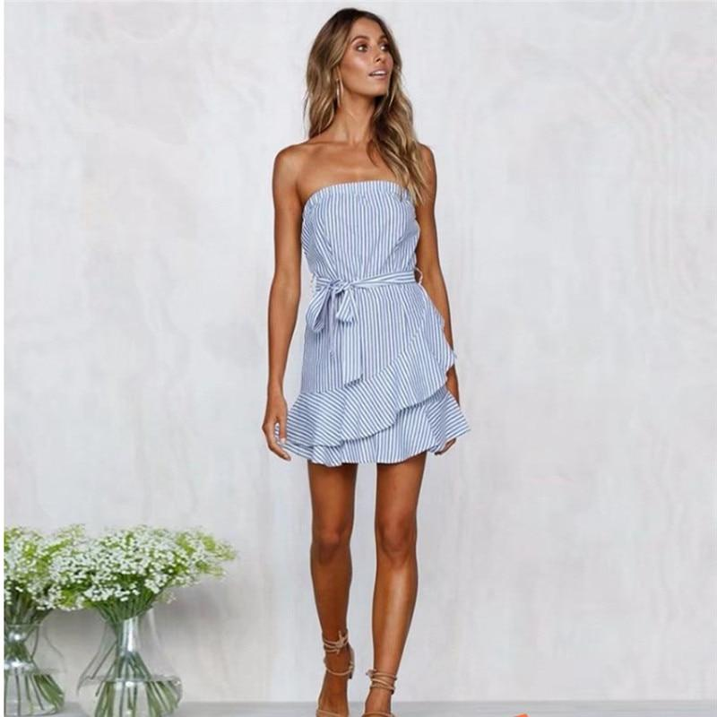 Fashion Summer Dress Casual Sleeveless Party Striped Tie Belt Bow Dresses