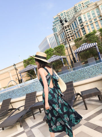 Floral Printed  Boho Long Tropical Sexy Maxi Dress