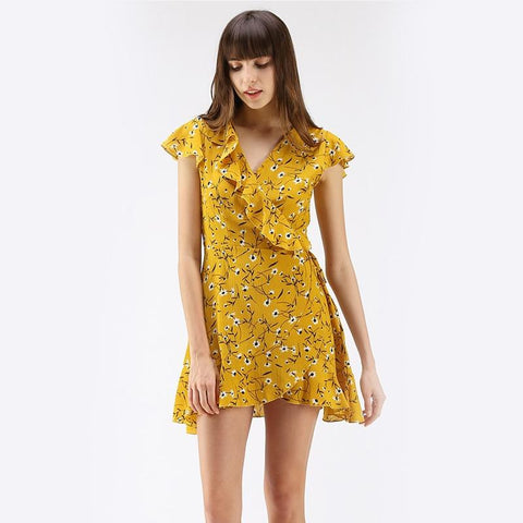 Cross-border Yellow Flower Lotus Leaf Edge Mini Dresses