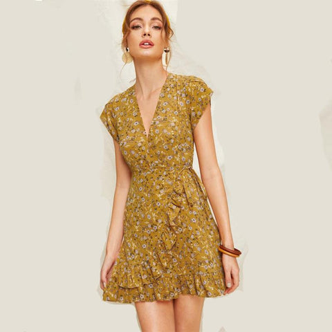 Summer Boho V Neck Petal Sleeve High Waist A Line Short Dress