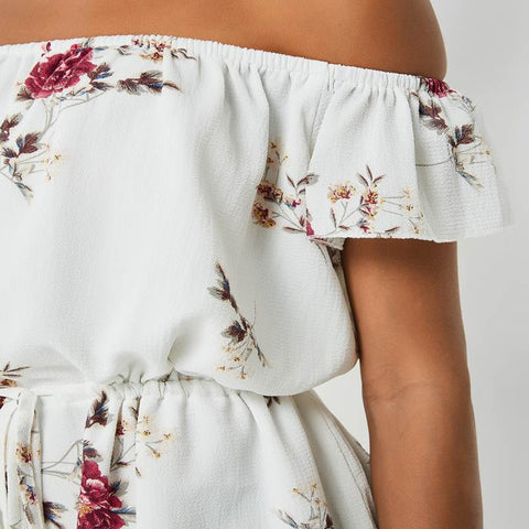 White Floral Print Jumpsuit Off Shoulder Drawstring Waist Beach Casual Playsuits