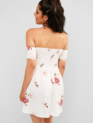 Floral Shirred Off Shoulder Short Sleeves Sexy Summer Dress