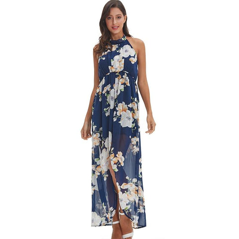 Sexy blue chiffon printed halter long maxi dress