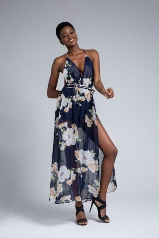 Floral Print Halter Chiffon Sexy Split Beach Summer Dress