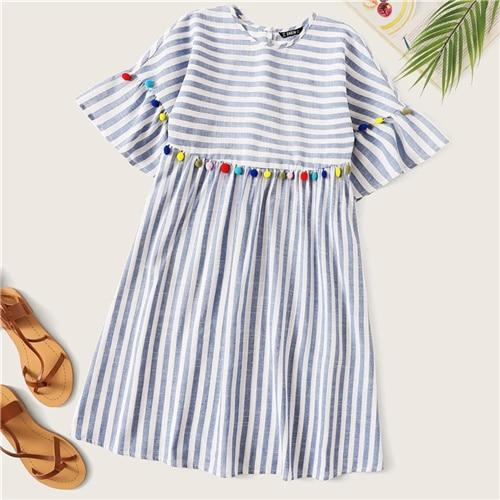 Boho Cute Blue Colorful Pompom Detail Striped Smock  Dress