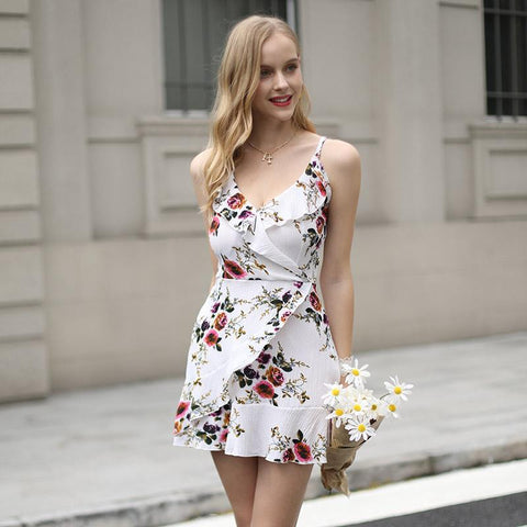 Elegant Chiffon Spaghetii Strap Floral Backless Cross Strap Sexy V Neck Mini Dress