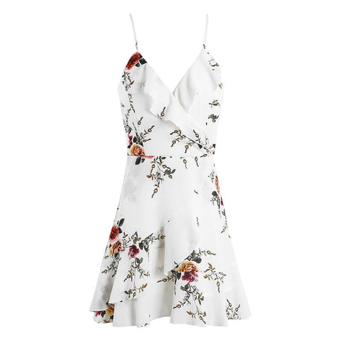 New Fashion Sleeveless Broken Flower Printed Cross-strap Mini Dresses