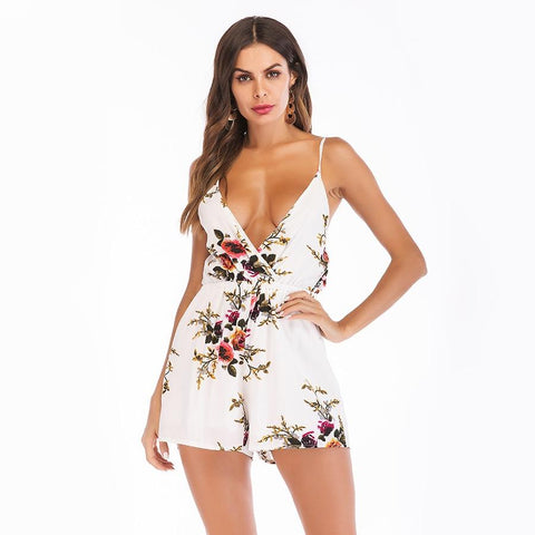 Hot Selling Backless Romper Jumpsuits Spaghetti Strap V Neck Chiffon Dress