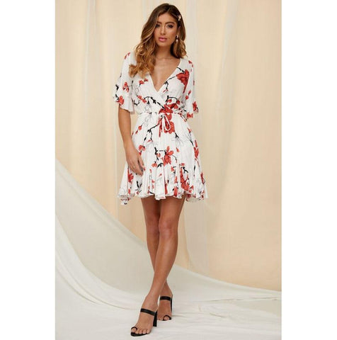 Sexy ruffle floral print short mini dress