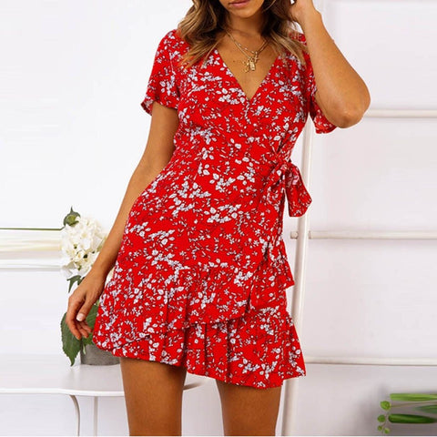 Casual Lace Up V-Neck Floral Printed Short Sleeve Ruffles Mini Dress