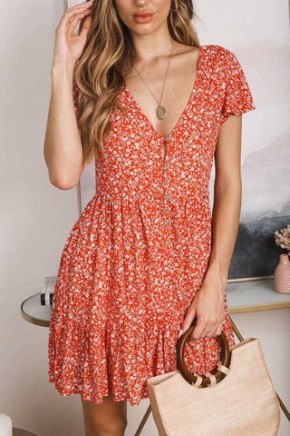 Fashion Floral Printed Vintage High Waist Sexy V Neck  Dress