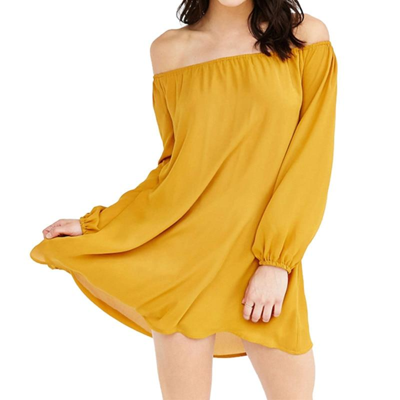 Sexy Off Shoulder Slash Neck Party Mini Dress