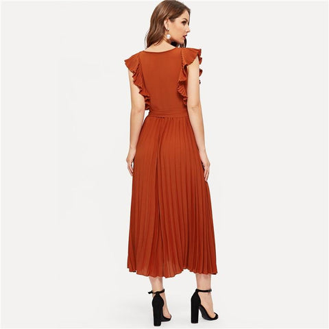 Rust Ruffle Trim Pleated Wrap Solid V Neck A Line Dress