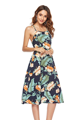 Sexy Halter Backless Leaf Printed Midi Dress