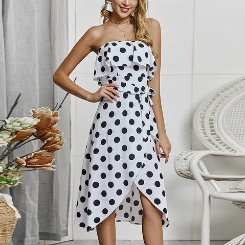 Hot Fashion Sleeveless Dot Printed Dress