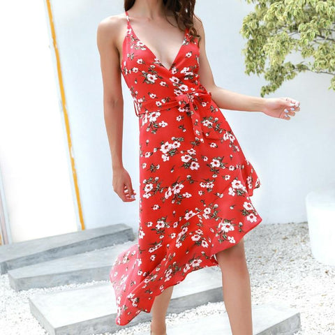 Spaghetti Strap Floral Printed Deep V-Neck Patchwork Ruffles Dress