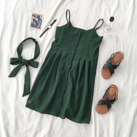 Hot Selling single-breasted strap dress