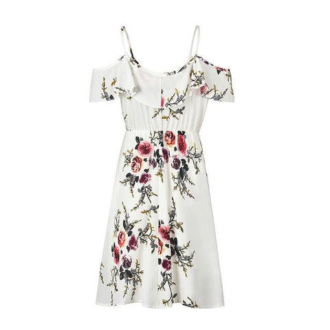 Floral Printed Chiffon Ruffle Off Shoulder Spaghetti Strap Dress