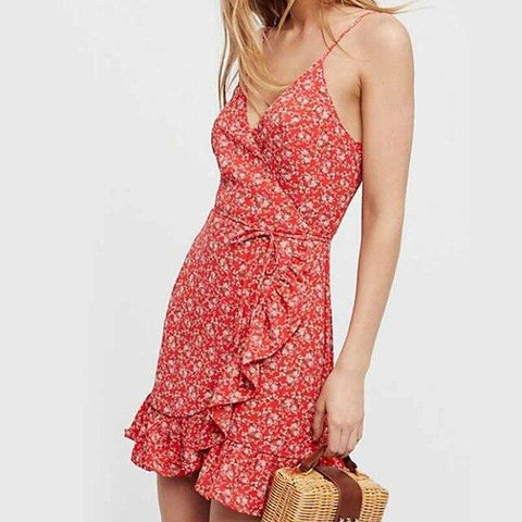 V neck strap ruffles printed sleeveless backless  mini dress