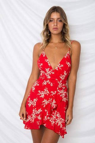 Hot Fashion Boho Floral Printed Sexy Lace V-neck Sling Ruffled Mini Dress