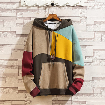 Color blocked Loose Pullover Japanese Street Jacket  Hip Hop Hoodie