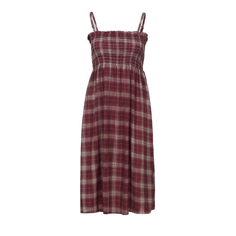 Boho Style Plaid Camisole Sleevelees Backless Party Cocktail Beach Dress