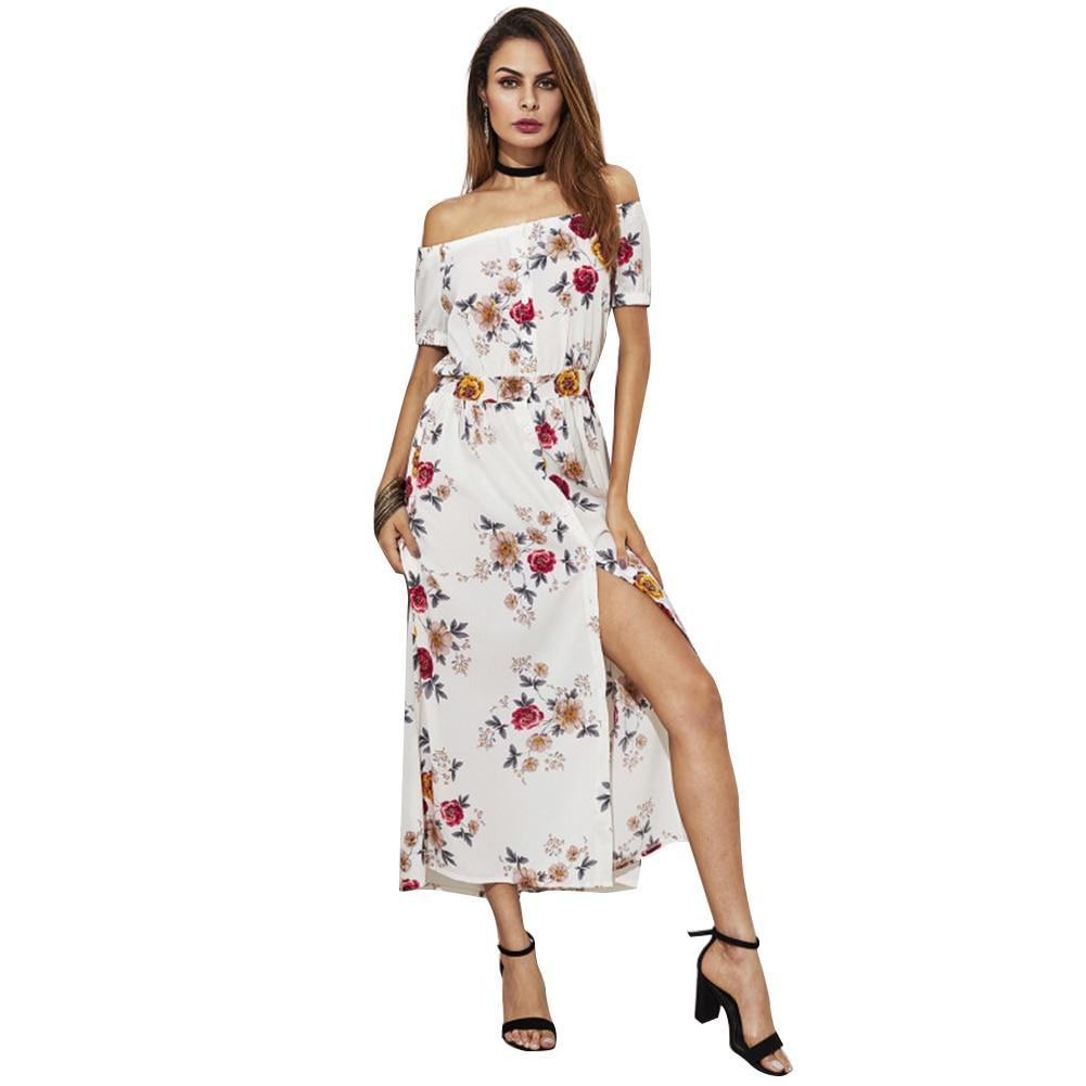 Sexy Off The Shoulder Floral Printed Short Sleeves  Maxi Dress