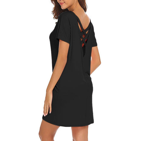 Casual Solid Above Knee Sleeve Loose Mini Dress