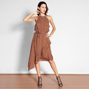 Casual Dot Ruffles Halter Sleeveless Mini Dress