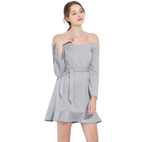 Sexy Off  Shoulder Solid Color Casual Sashes Long Sleeve Mini Dress