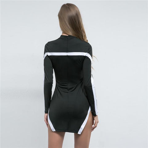 Hot style stitching  high collar irregular wrap buttock sheath striped dress