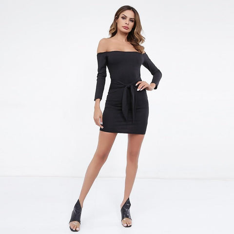 Sexy off shoulder long sleeve bodycon mini dress