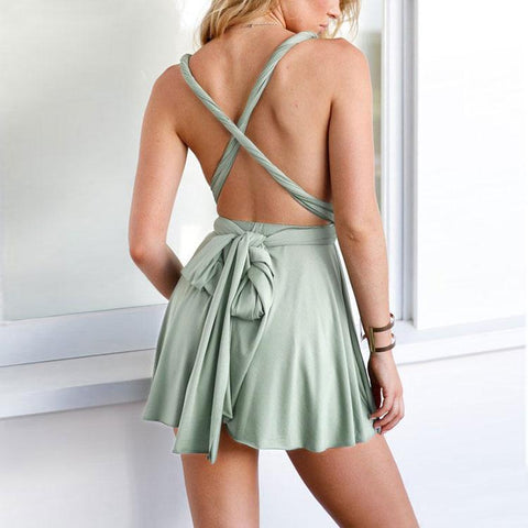 New fashion hollow out strap backless sling mini dress