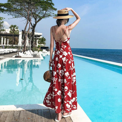Sexy Backless Spaghetti Strap V-Neck Chiffon Maxi Dress