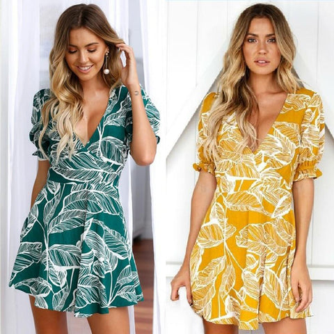 Sexy Deep V-neck Beachwear Cocktail Summer Casual Mini Dress